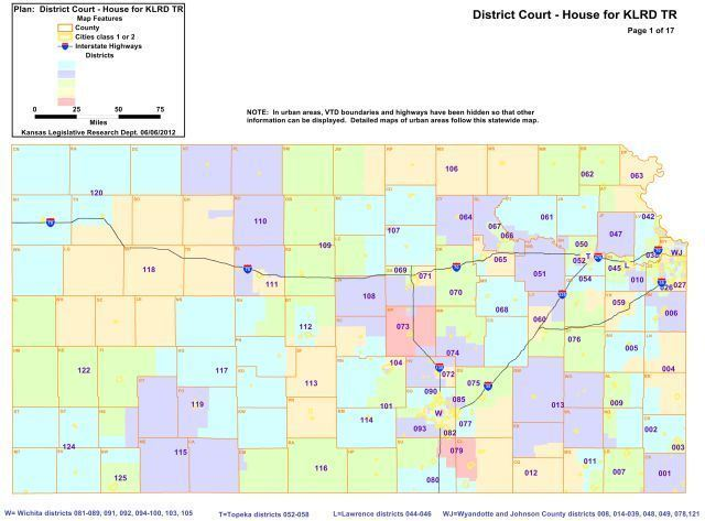 State Representatives (House) Map of Kansas